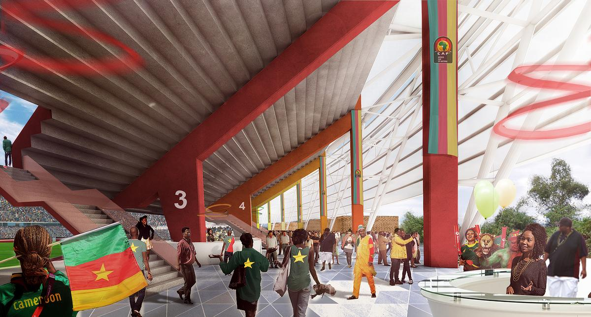 The stadium's colour system is based on the bead and fabric creations found on Douala's many market stalls