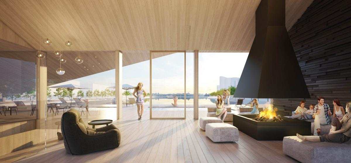 The timber structure is partly constructed out of cross-laminated timber (CLT) elements
