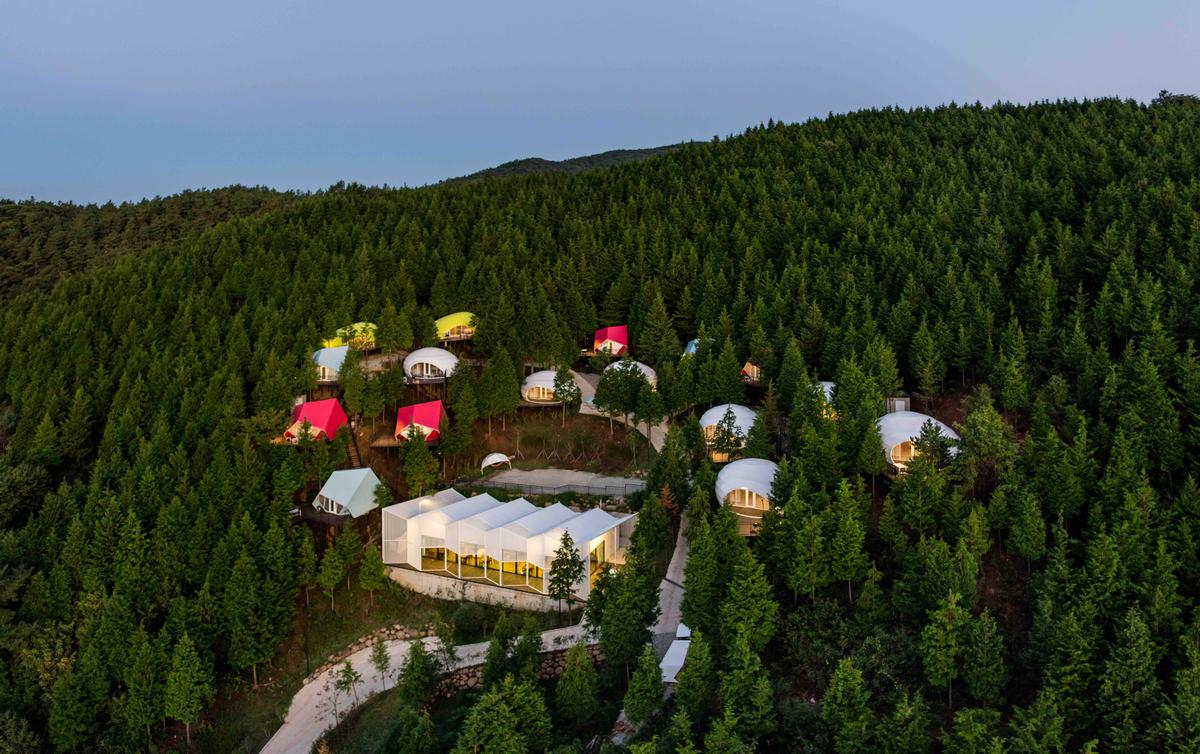 The SJCC Glamping Resort consists of 16 living units, with an onsite restaurant and reception