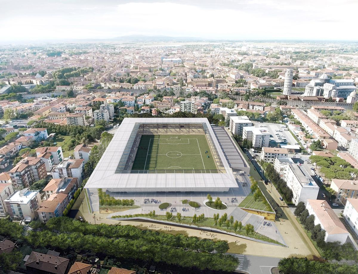 The stadium will blend into its Tuscan surroundings and sit low, so as not to disrupt the skyline of the city