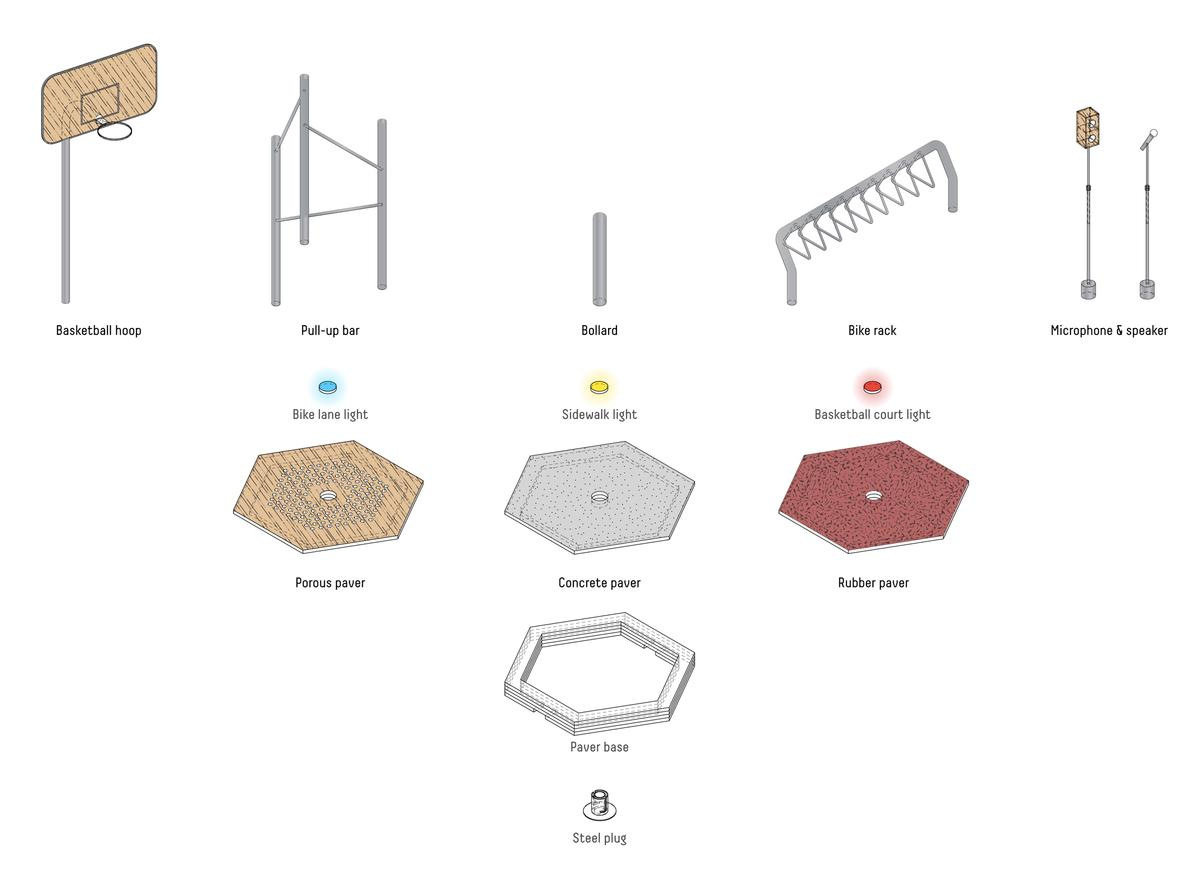 Carlo Ratti Associati And Sidewalk Labs Design Changeable Street Basketball Hoop Diagram Another Element The Hexagonal Slabs Have Embedded In Them Is A Plug Play Function That