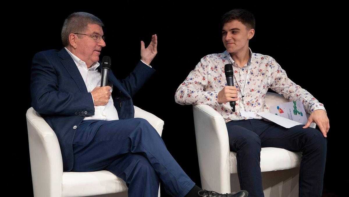 "IOC president Thomas Bach (left) with Jacob ""Jake"" Lyon - a professional esports player / IOC"
