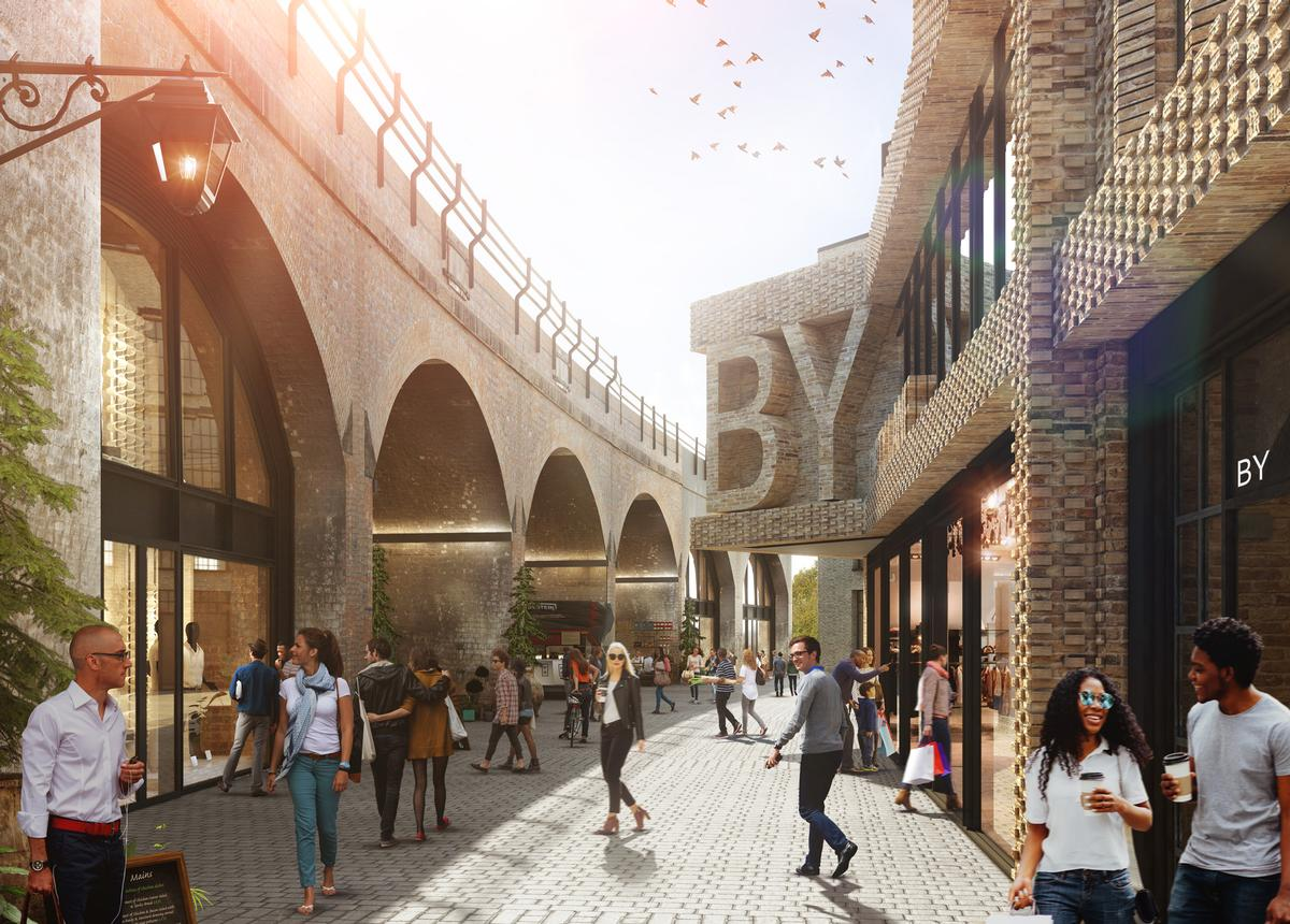 The brick-built railway viaducts will be opened up for pedestrian lanes to allow for ease of passageway