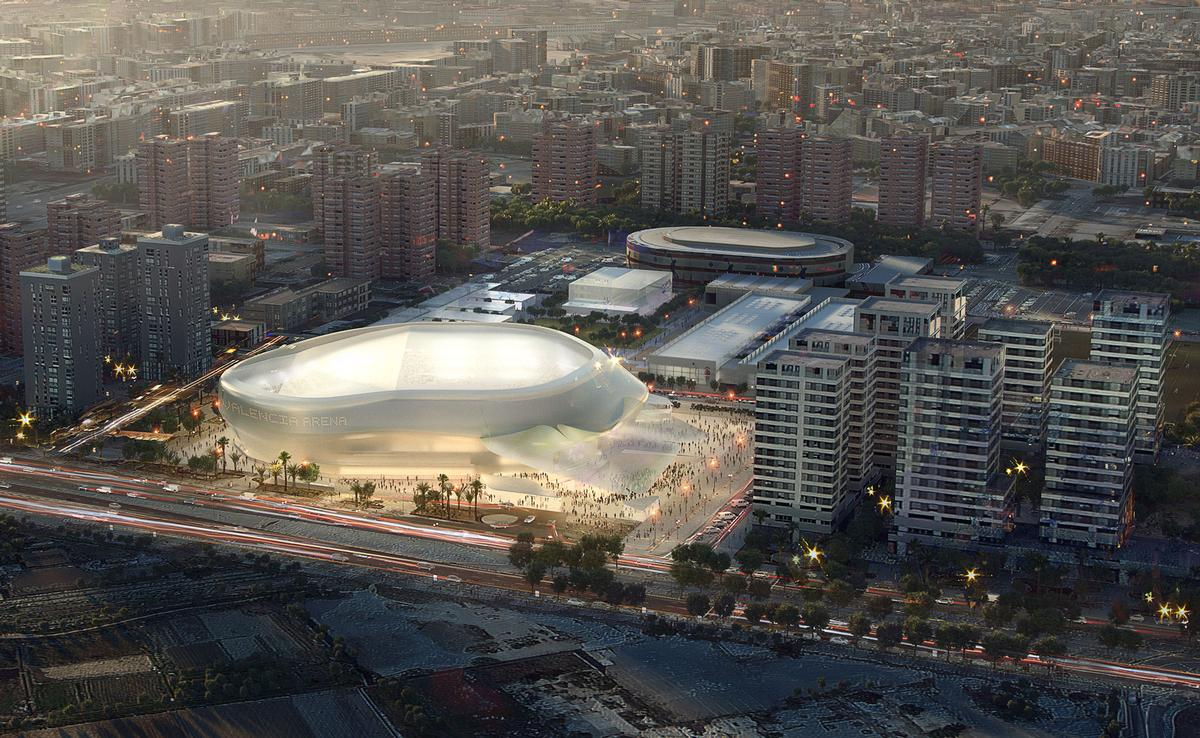 The 15,000-capacity arena will be the home of Valencia Basket and is part of a larger masterplan / HOK