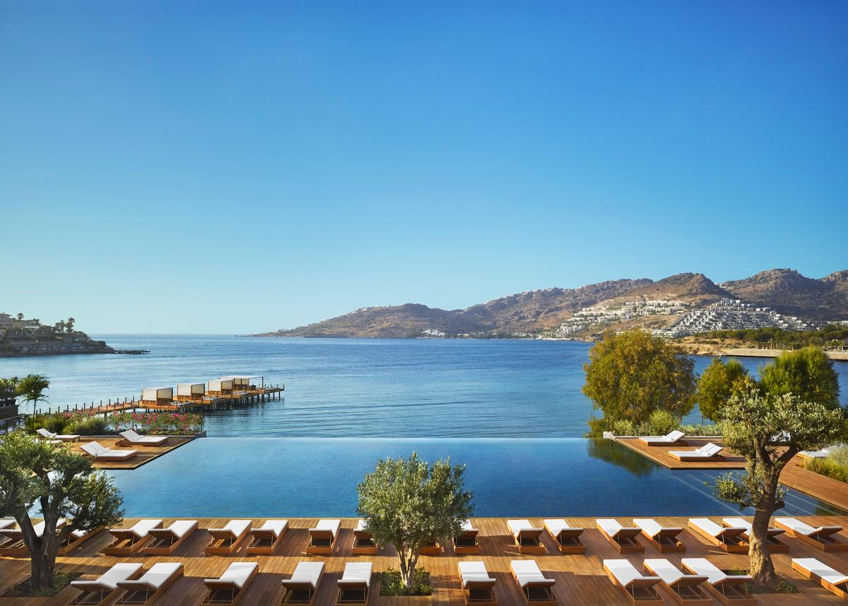 Set within 22,000 sq metres (72,200 sq feet), the 102-bedroom Bodrum Edition has been designed by designed by Christophe Pillet