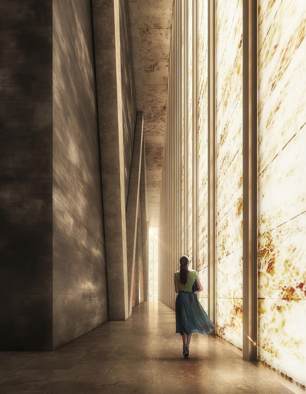 Daylight will illuminate the interior of the Perelman Performing Arts Center through the marble façade