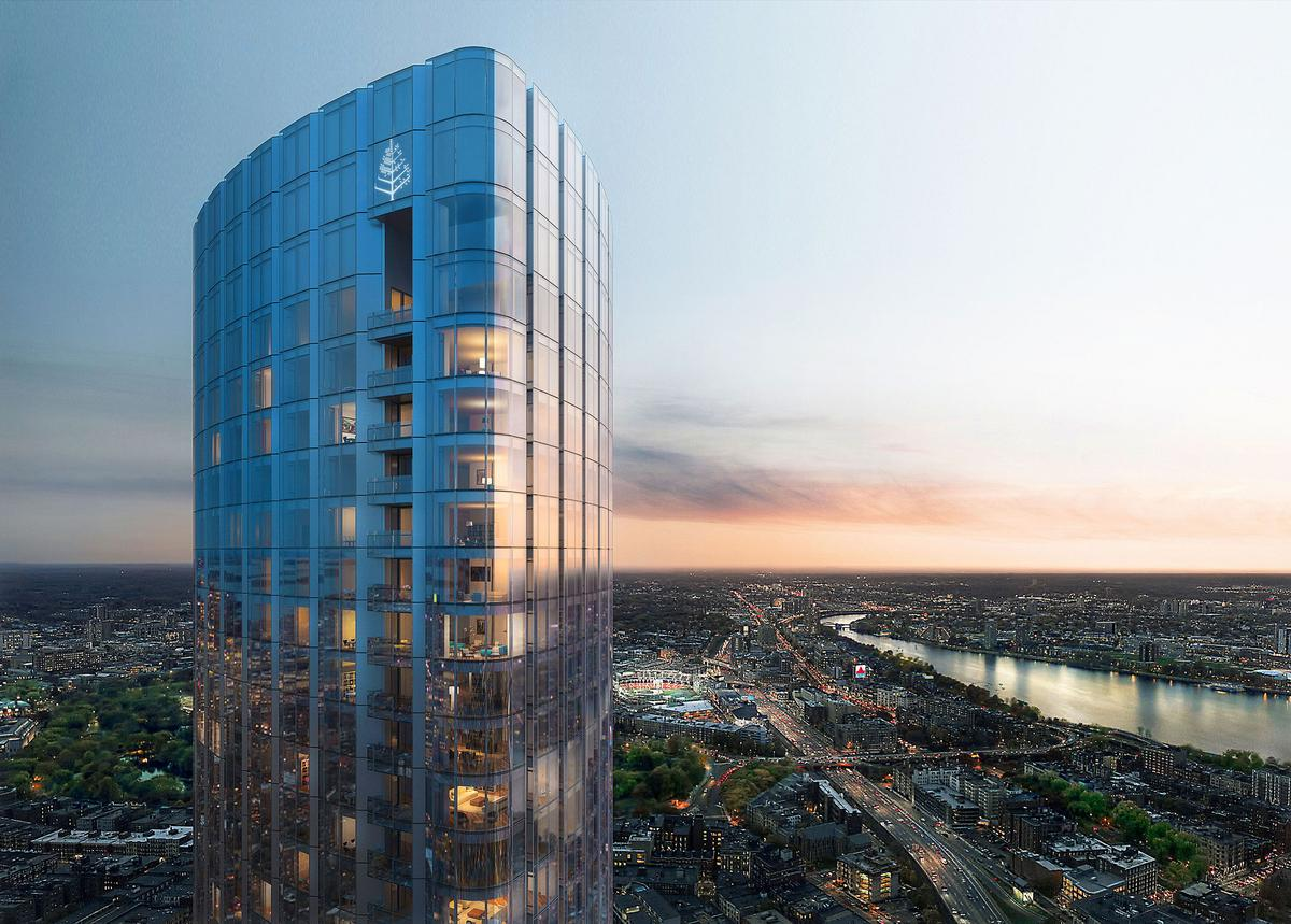 Offering sweeping views of Boston from its hotel rooms and apartments, the building will have reduced corridors to offer residents ultimate privacy