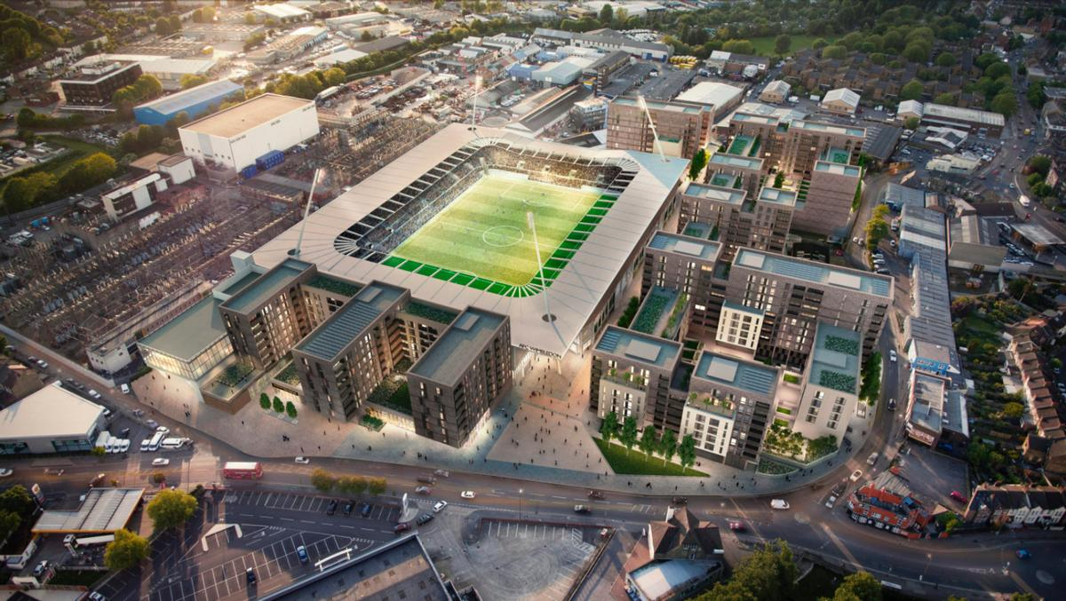 Designed by architects Sheppard Robson, the stadium will host 11,000 people, with the ability to be expanded to as many as 20,000. / AFC Wimbledon