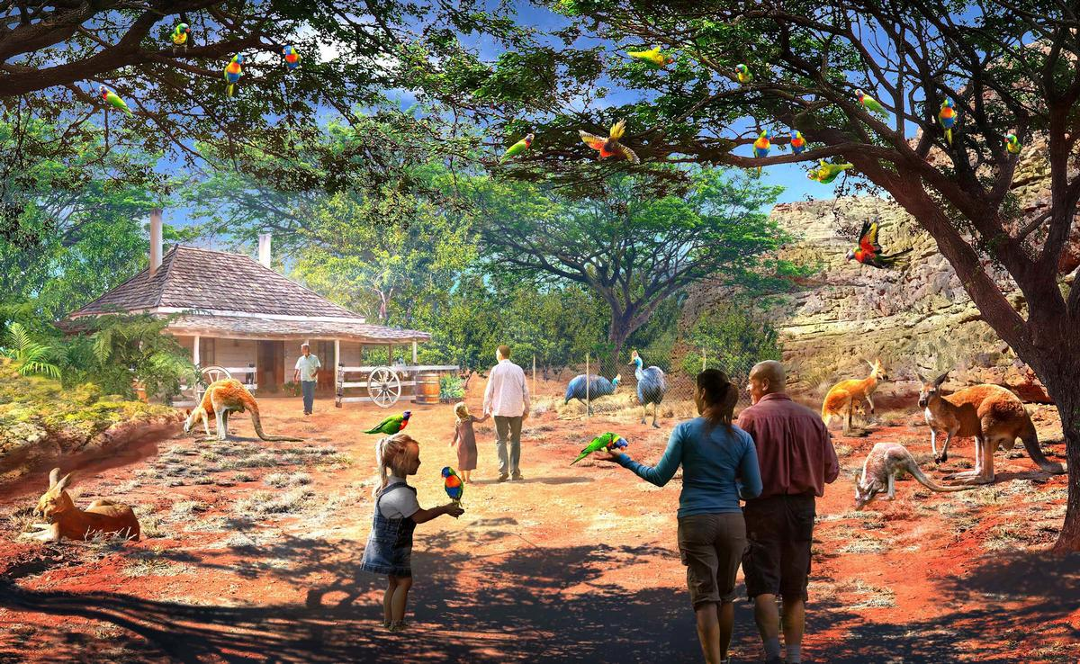 The Bush Trail concept is a walk-through area including some of Australia's most popular animals / San Antonio Zoo