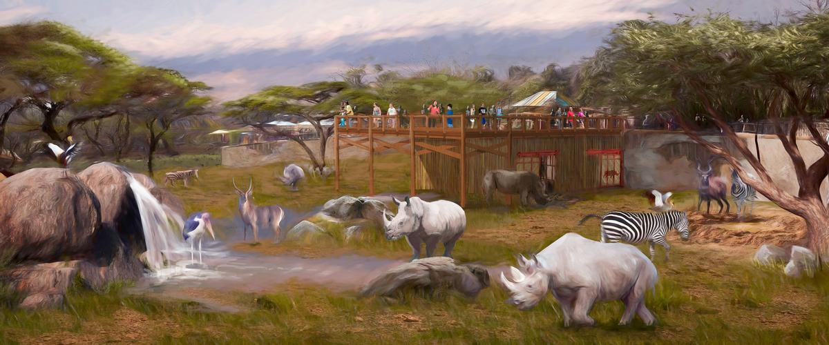 A US$1m rhino habitat broke ground last month / San Antonio Zoo