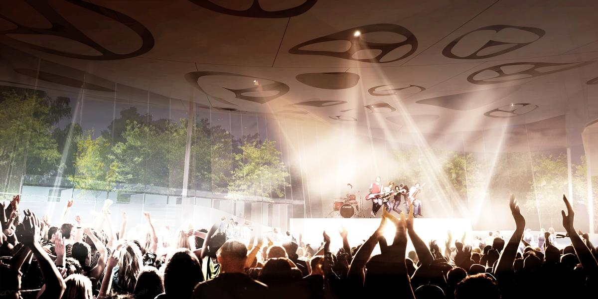 Parts of the indoor area will serve as music venues / Sou Fujimoto