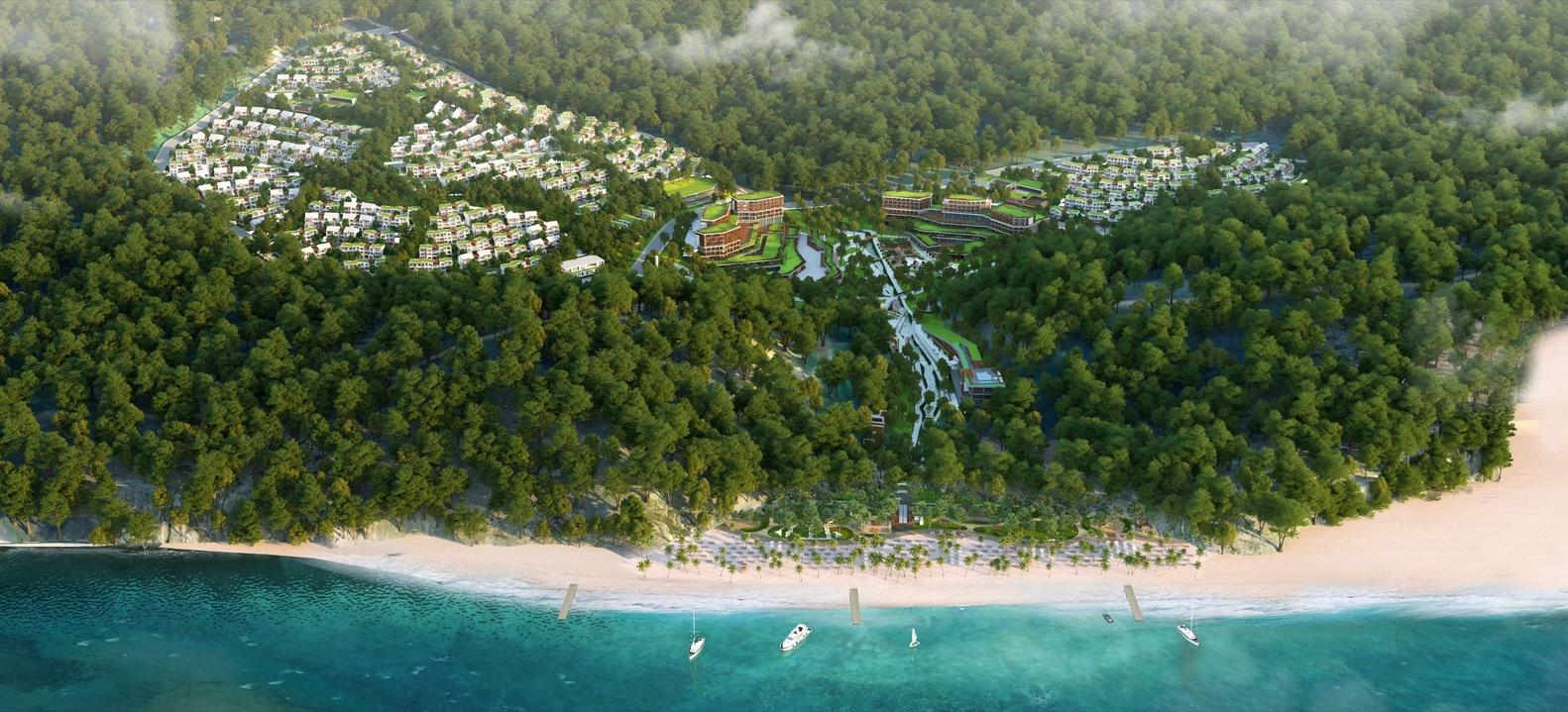 The resort is situated on around 330,000sq m of hilly land with a view to the sea, and has been created with a focus on nature and numerous green belts throughout / Project Design Group