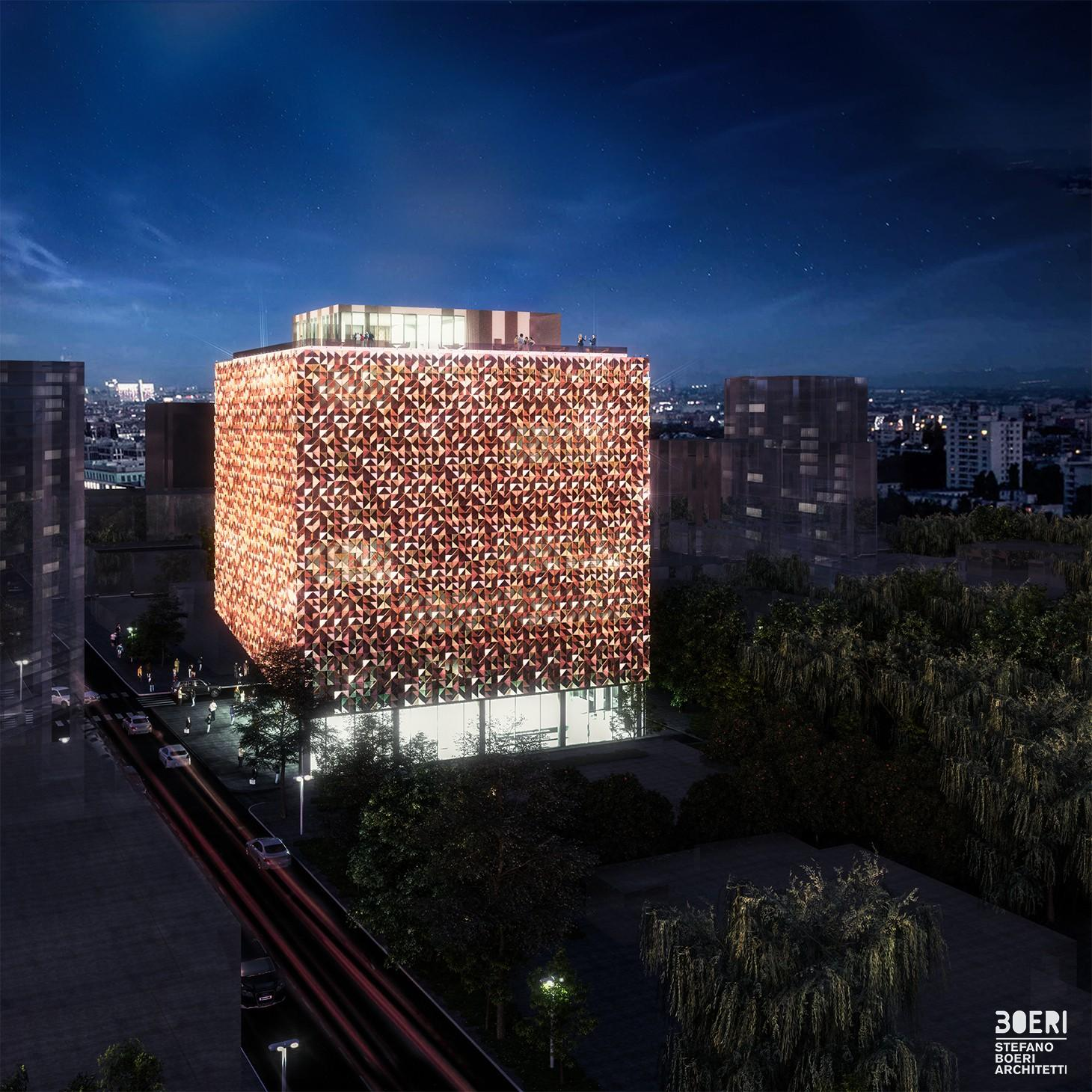 Blloku Cube as it would appear at night / courtesy of Stefano Boeri Architetti