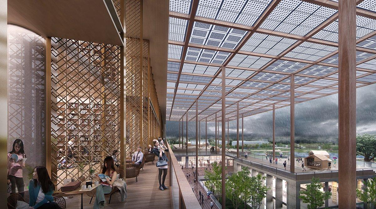 A rendering of the library's lobby and solar canopy / courtesy of BAF and Carlo Ratti