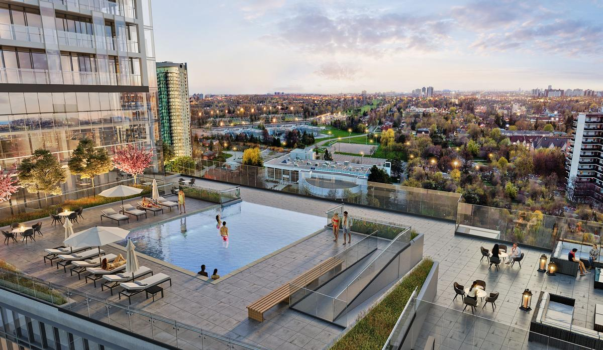 The development is aimed at familes and offers a range of amenities including an outdoor pool