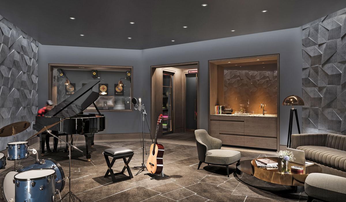 Facilities at Waterline Square include a recording studio