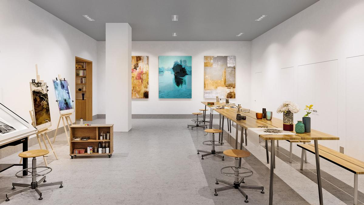 There is an art room available for use by residents
