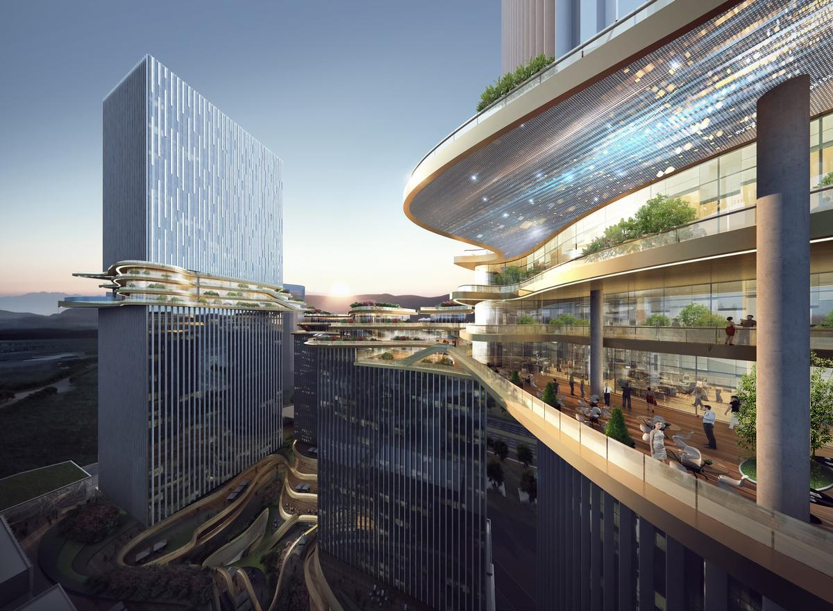 An image displaying the skybridge's recreational facilities and office spaces / courtesy of Aedas