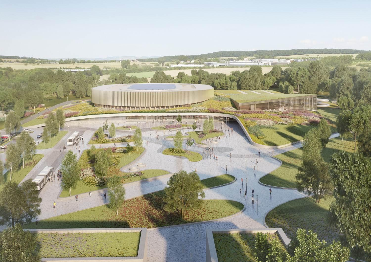 A rendering of the complete sports complex / courtesy of Mecanoo