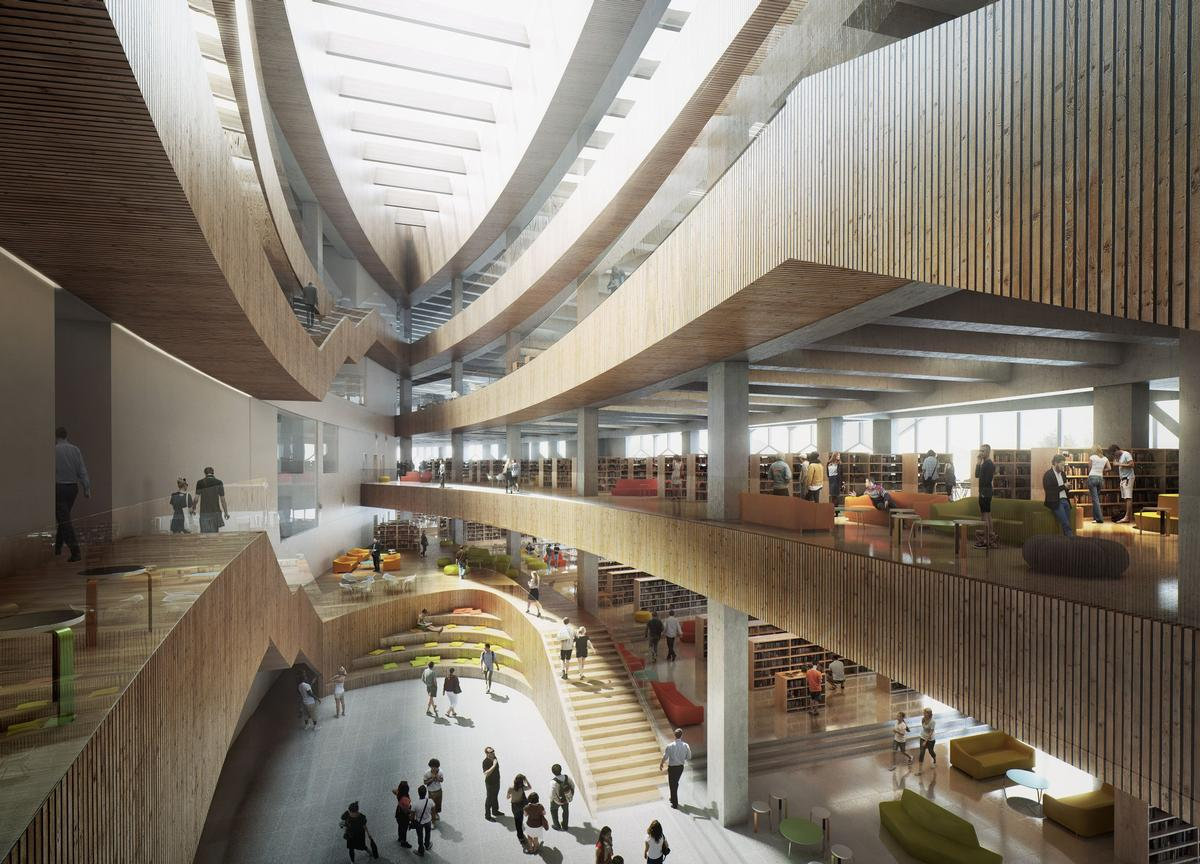 A rendering of the library's interior / courtesy of Snøhetta and MIR