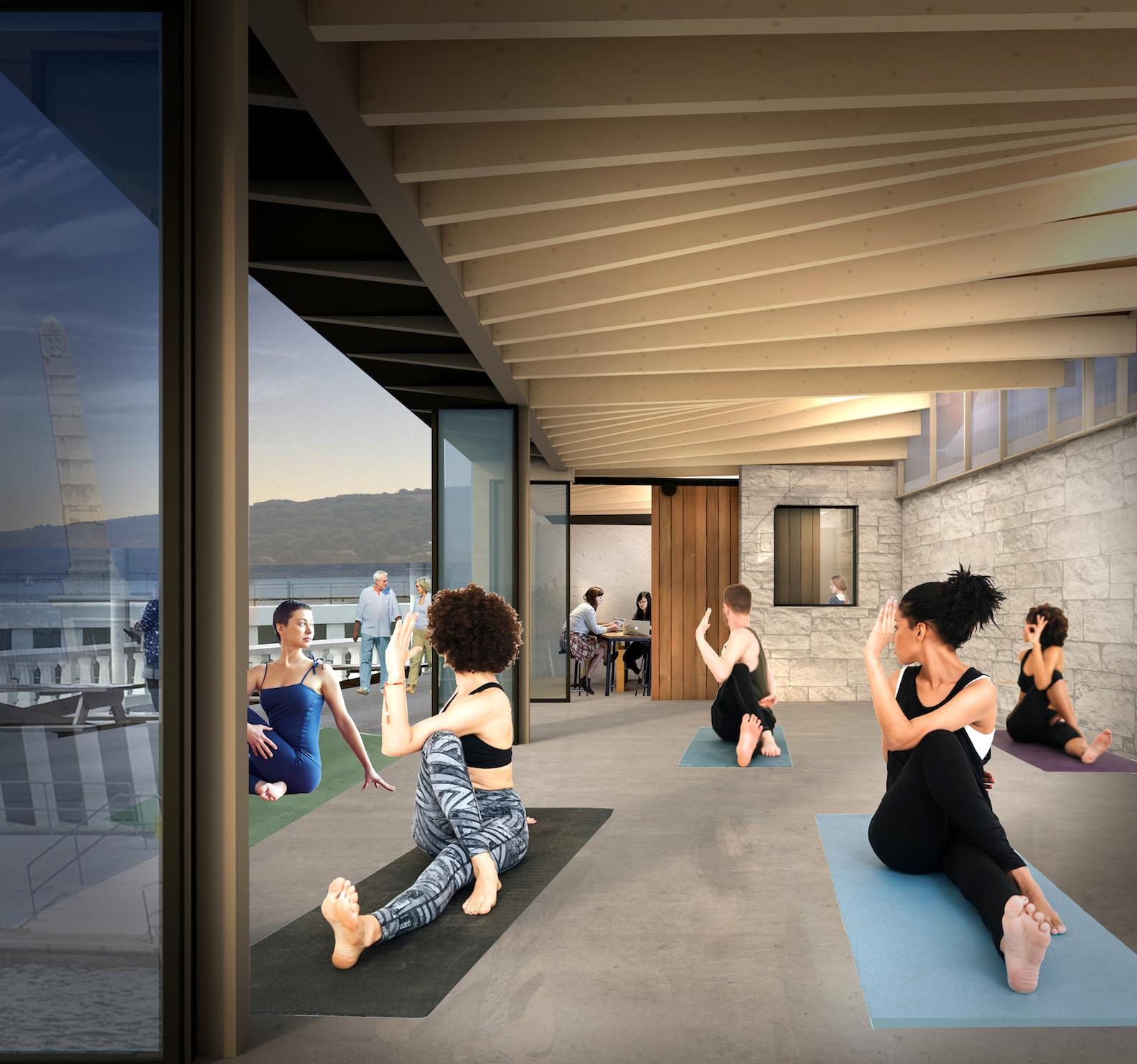 A new large multi-purpose hall will open up directly onto the promenade in the summer months, and will be used for community activities, including exercise or art classes