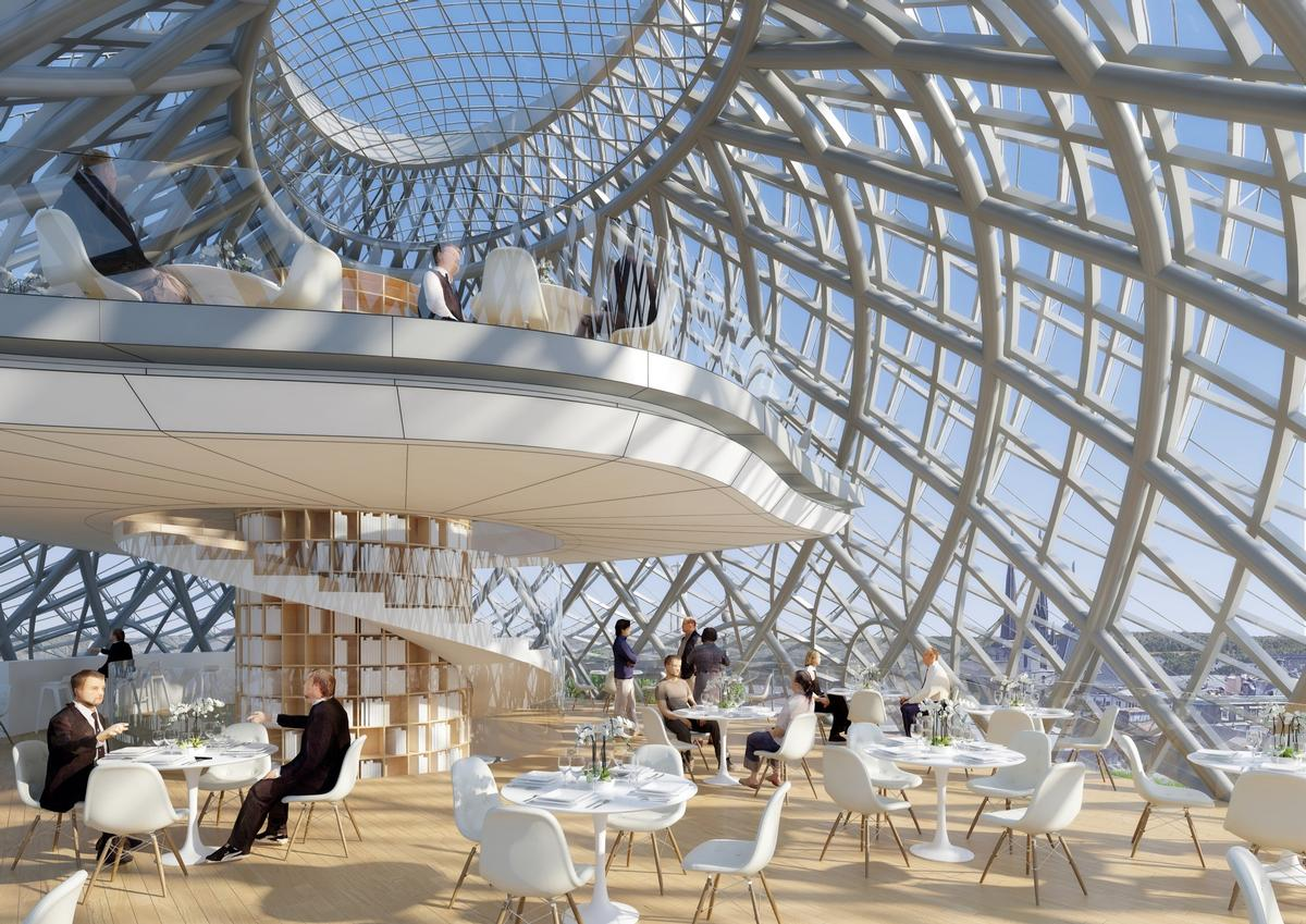 Patrons who dine on the upper floors will have a 360-degree view of the city / Courtesy of Vincent Callebaut Architectures