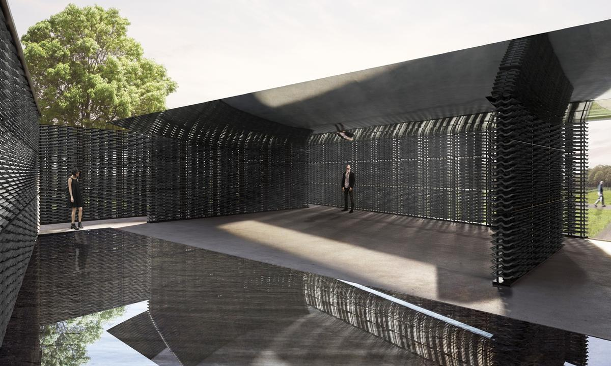 Serpentine Galleries artistic director, Hans Ulrich Obrist and CEO, Yana Peel, called Escobedo's Pavilion 'a living timepiece in the park, powered by light and the Prime Meridian line'. / Courtesy of Frida Escobedo