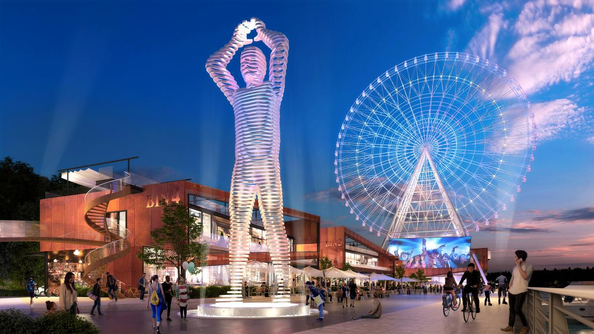 The development includes the Geordie Giant, a 39ft (12m) tall steel structure of a man making a circular gesture above his head