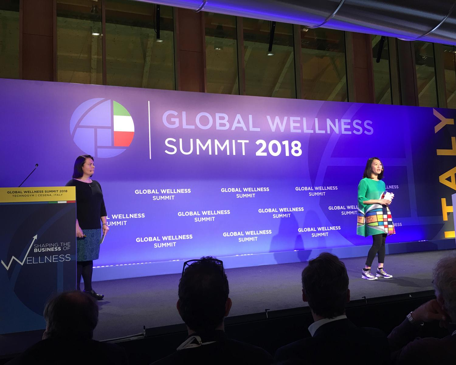 Katherine Johnson and Ophelia Yeung presented the new report at this year's Global Wellness Summit in Italy on