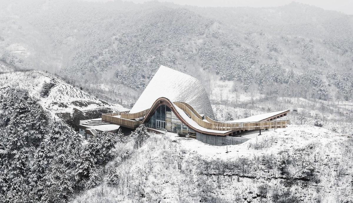 Hilltop Gallery with 'moonlight exteriors' completes in China's Yanshan mountains