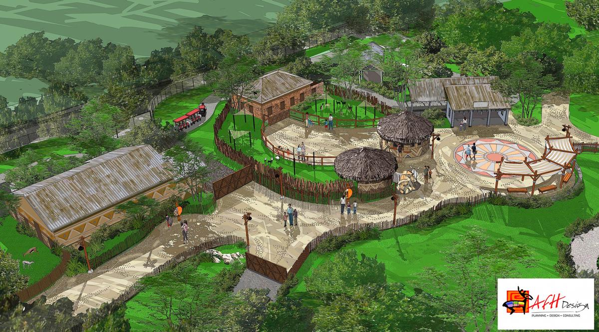 The Pride of Africa area will feature an expanded African lion habitat, a habitat for white storks and Speke's gazelles and a goat feeding area