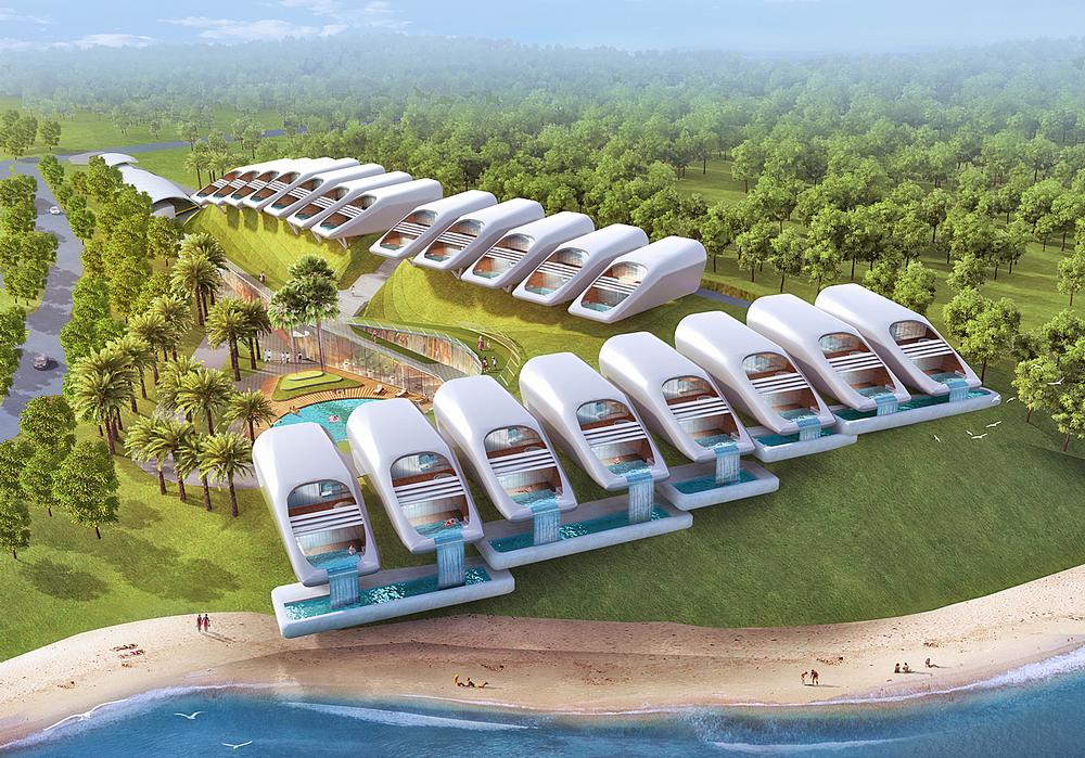 Pomeroy Studio has designed a flower-shaped resort in Malaysia that features water villas and eco pods