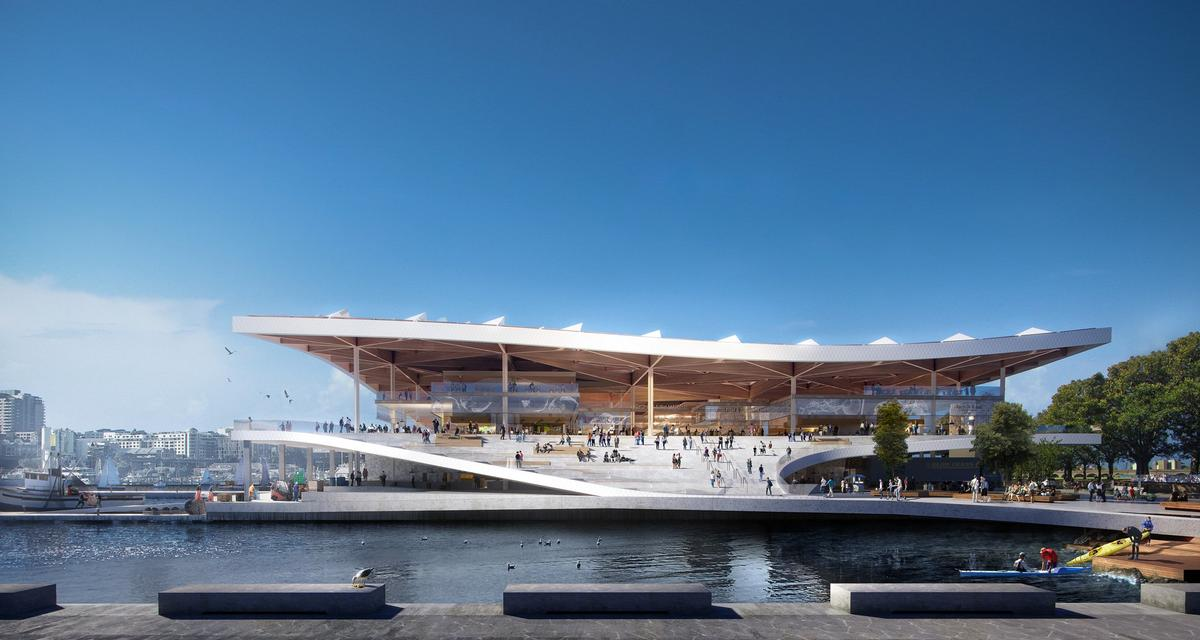 Nielson said the site's design 'excels in its ability to create value for all stakeholders; the fisherman, and restaurateurs as well as neighbours and tourists'. / Courtesy of 3XN