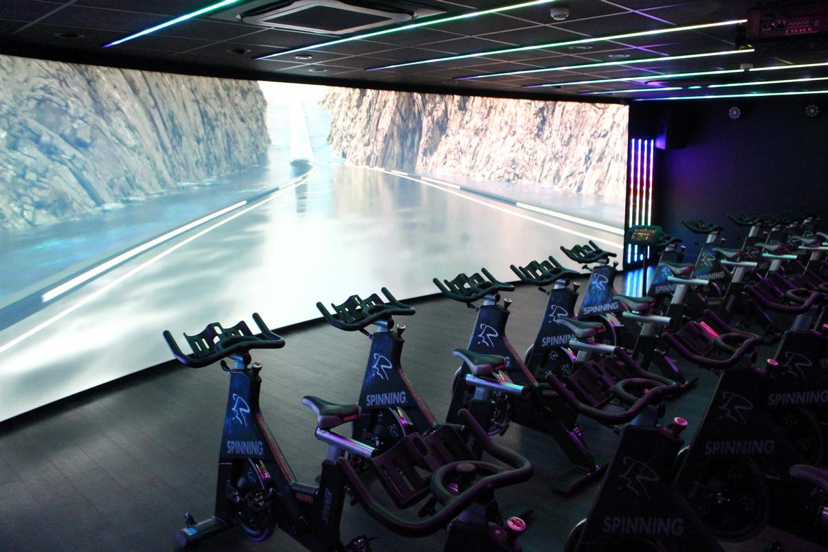 The centre houses a Les Mills immersive indoor cycling studio – one of only seven in the UK