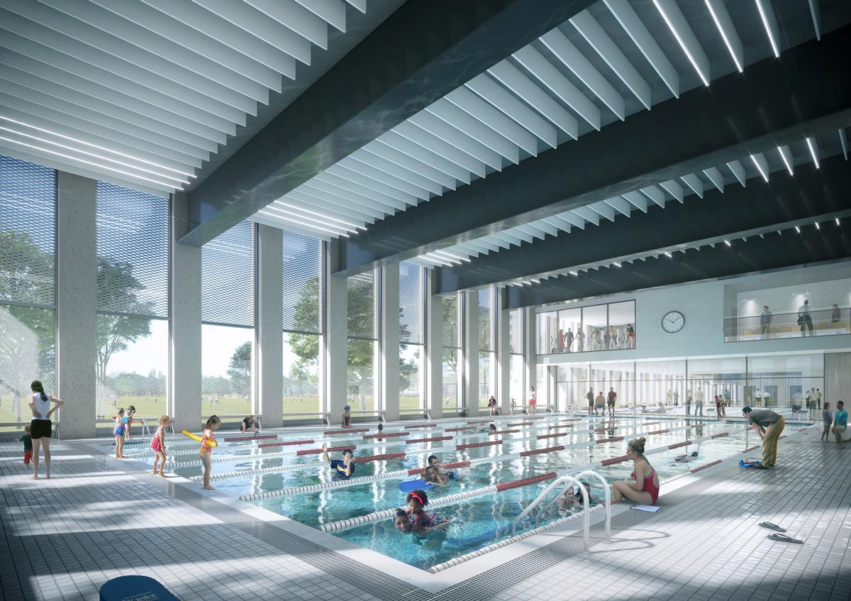 One of the complex's highlights will be its six-lane, 25-metre pool. / Courtesy of FaulknerBrowns Architects