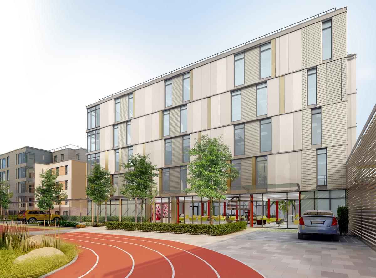 Double Olympic champion Lord Sebastian Coe opened the Elite Athlete Centre and Hotel at Loughborough University on 9 November. / Courtesy of David Morley Architects
