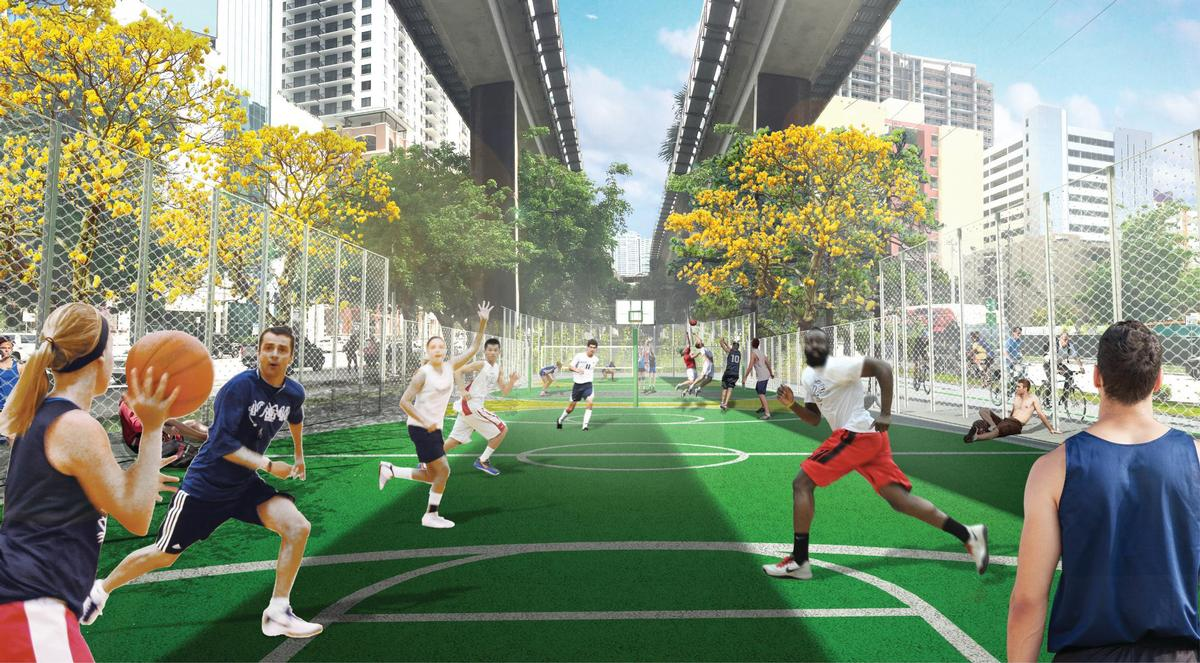 The park will feature a number of recreational amenities, including a performance stage and basketball court. / Courtesy of James Corner Field Operations