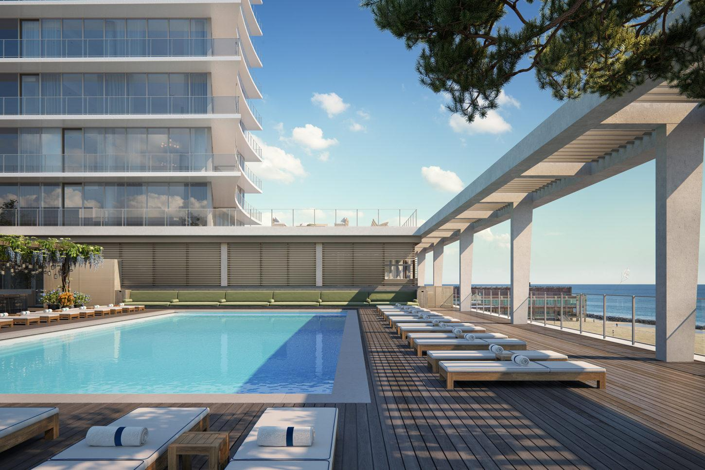 The resort will feature outdoor dining areas and terraces, all of which will provide panoramic views of the Atlantic Ocean. / Image by Binyan Studios