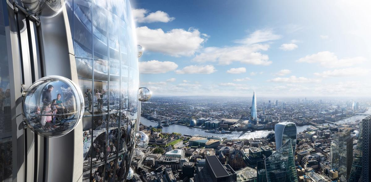 The futuristic addition to London's skyline could open to the public in 2025. / Courtesy of Foster + Partners