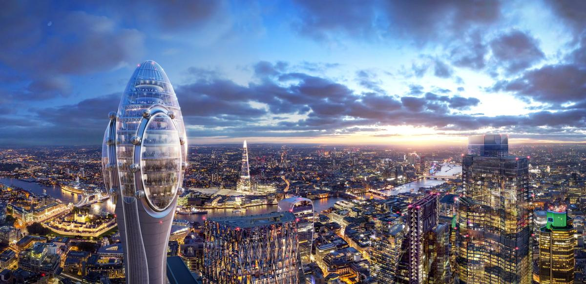 The Tulip Tower will be slightly shorter than the Shard, the UK's tallest building. / Courtesy of Foster + Partners