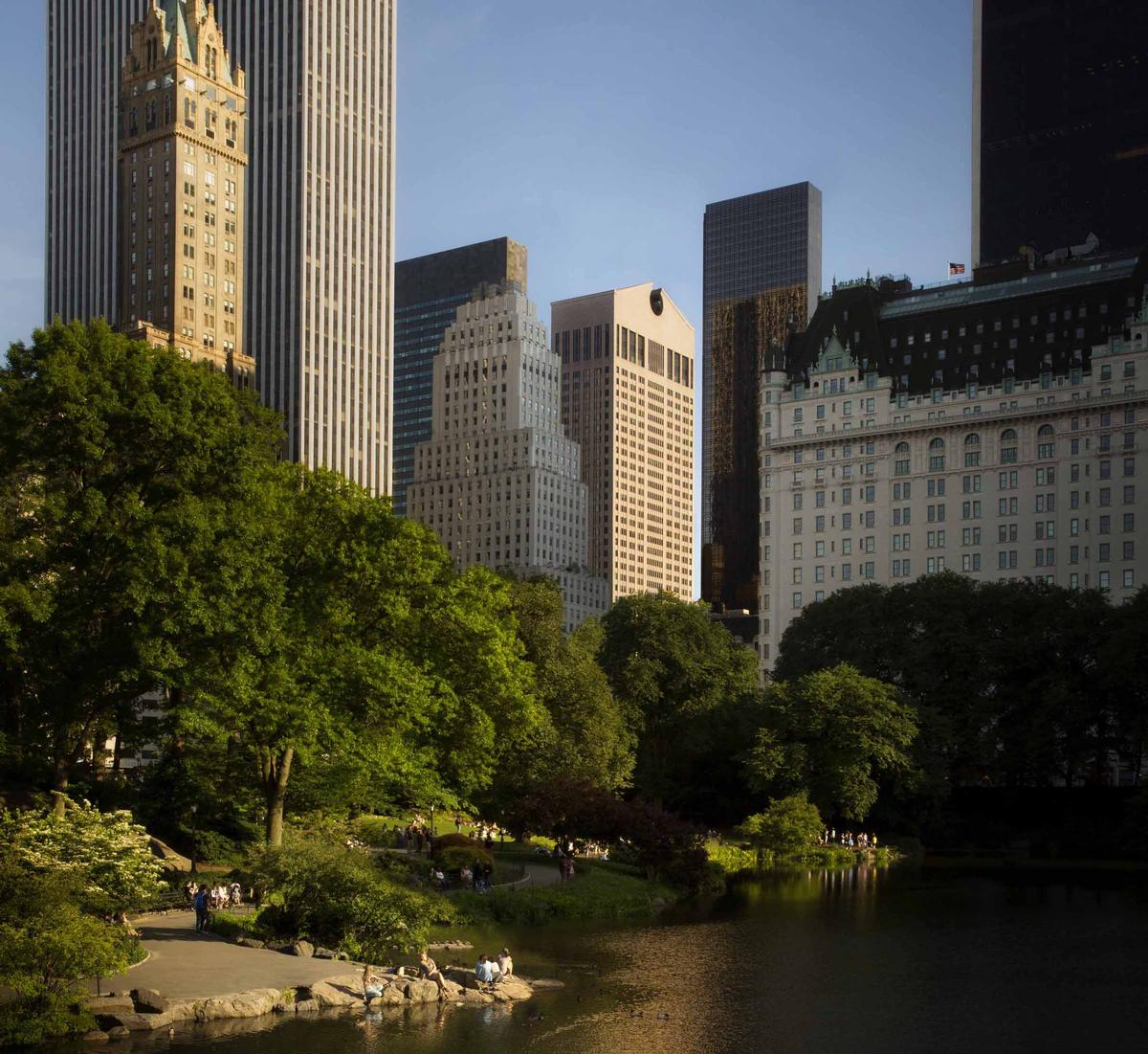 Originally designed by architect Philip Johnson, the Sony Tower (shown here, centre, from Central Park) is an iconic New York landmark, known for its ornamental 'Chippendale' roofline and considered to be one of the first postmodern skyscrapers / Oetker Collection