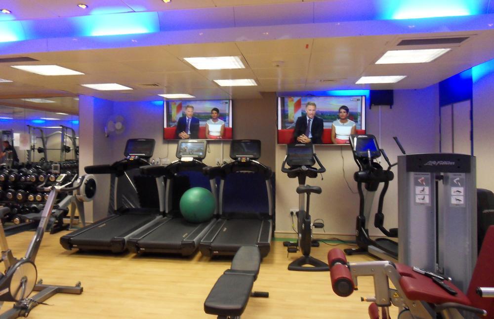 The 'flotel' offers a gym as well as social facilities including a cinema and internet café