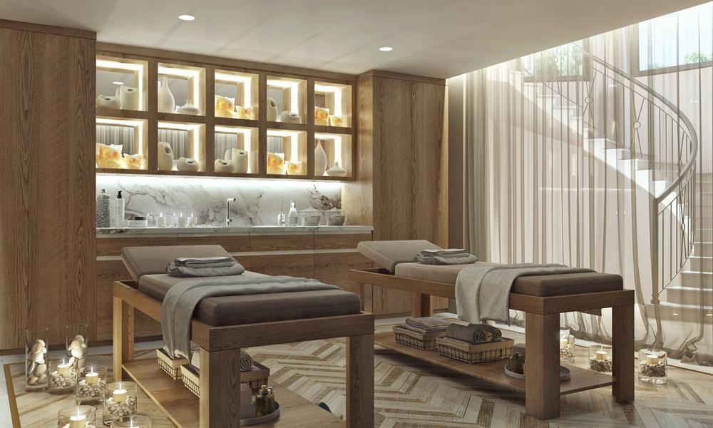 A couple's massage area allows the couple to relax after their workout.  / ALL Renderings: Molly Satterfield