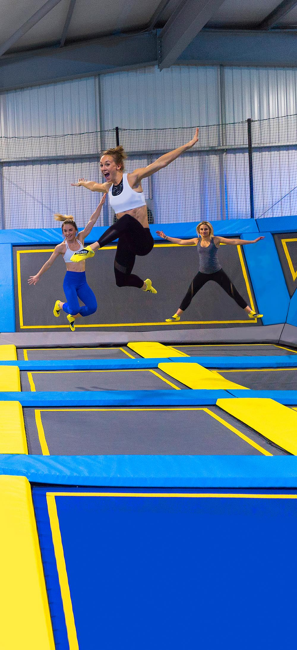 Oxygen Freejumping centres are between 25,000 and 35,000 sq ft, with wall-to-wall trampolines