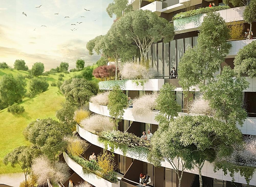 Some 1,100 trees of  23 different species will line the building façades