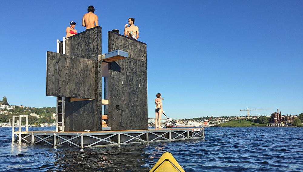 The wa_sauna sits on a 23sq m platform fitted with an electric motor. It can hold six people, which floats on Seattle's waterways / Photo: Ryan Tevebaugh