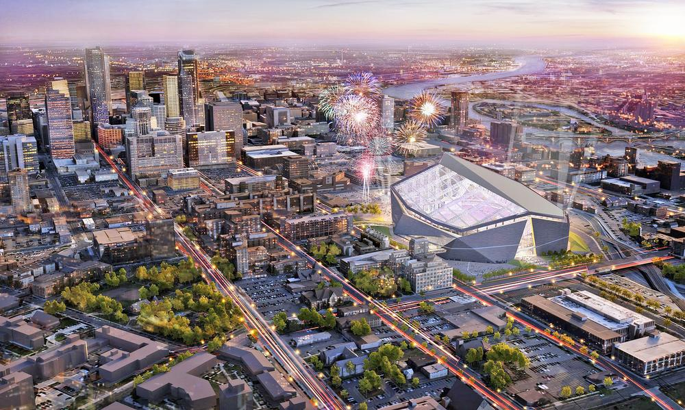 US Bank Stadium, Minneapolis, Minnesota: The Minnesota Vikings' stadium is under construction and is due to open this summer. It features a huge EFTE roof