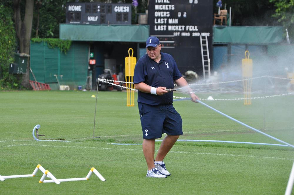 At work at the Kowloon Cricket Club, Spurs' training venue during the Barclays Asia Trophy