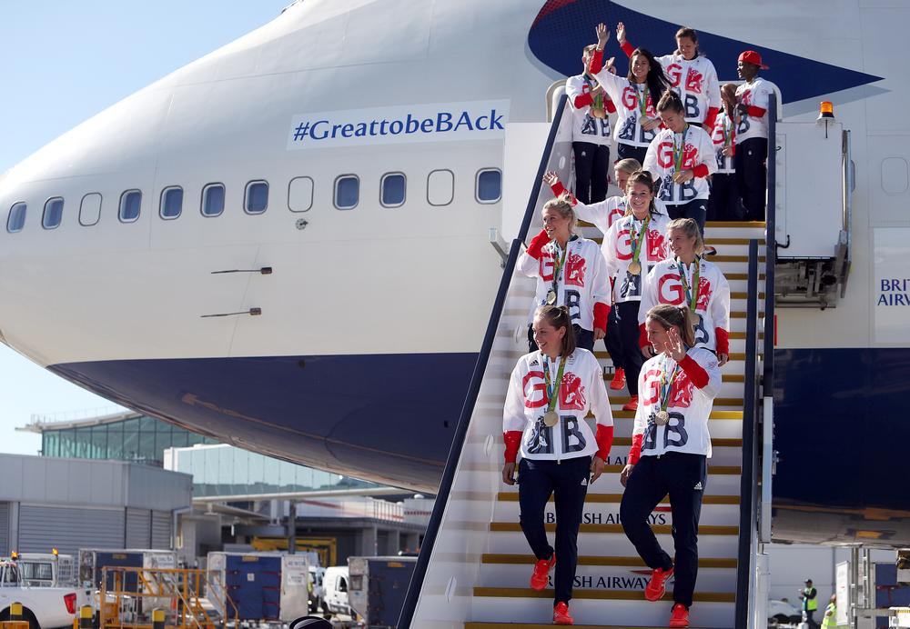 GB's women's hockey team return from Rio 2016 with their gold medals / steve parsons / press association