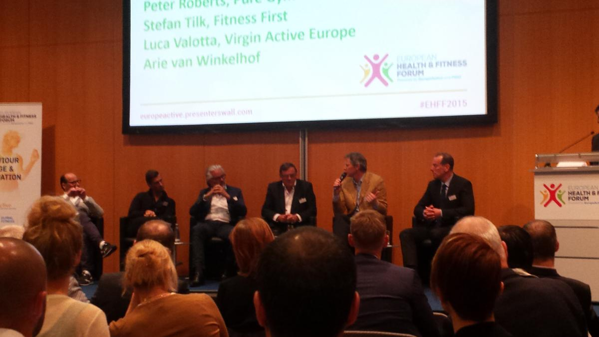 Fitness First Germany MD Stefan Tilk (far left) takes part in a panel discussion at EHFF 2015 / Jak Phillips